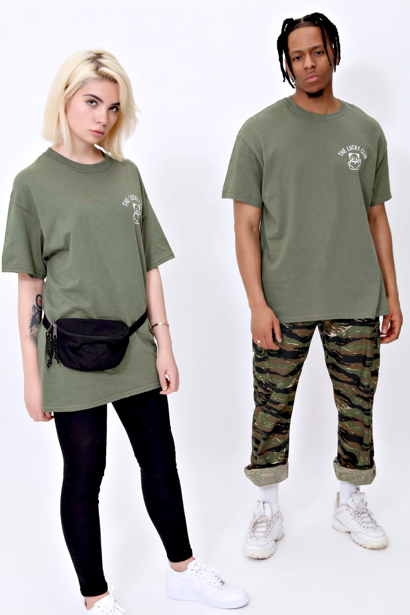 Lucky Cat T shirt in Khaki