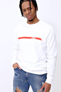 Racer Crewneck in White & Red