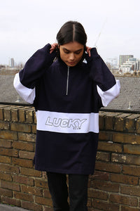 ESSENTIALS Rugby Pullover in Navy and White