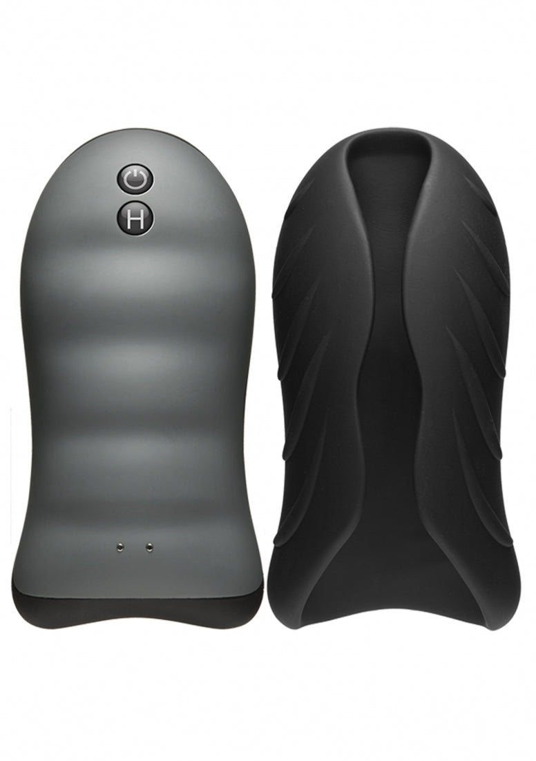 Silicone Warming Stroker - Vibrating - Black