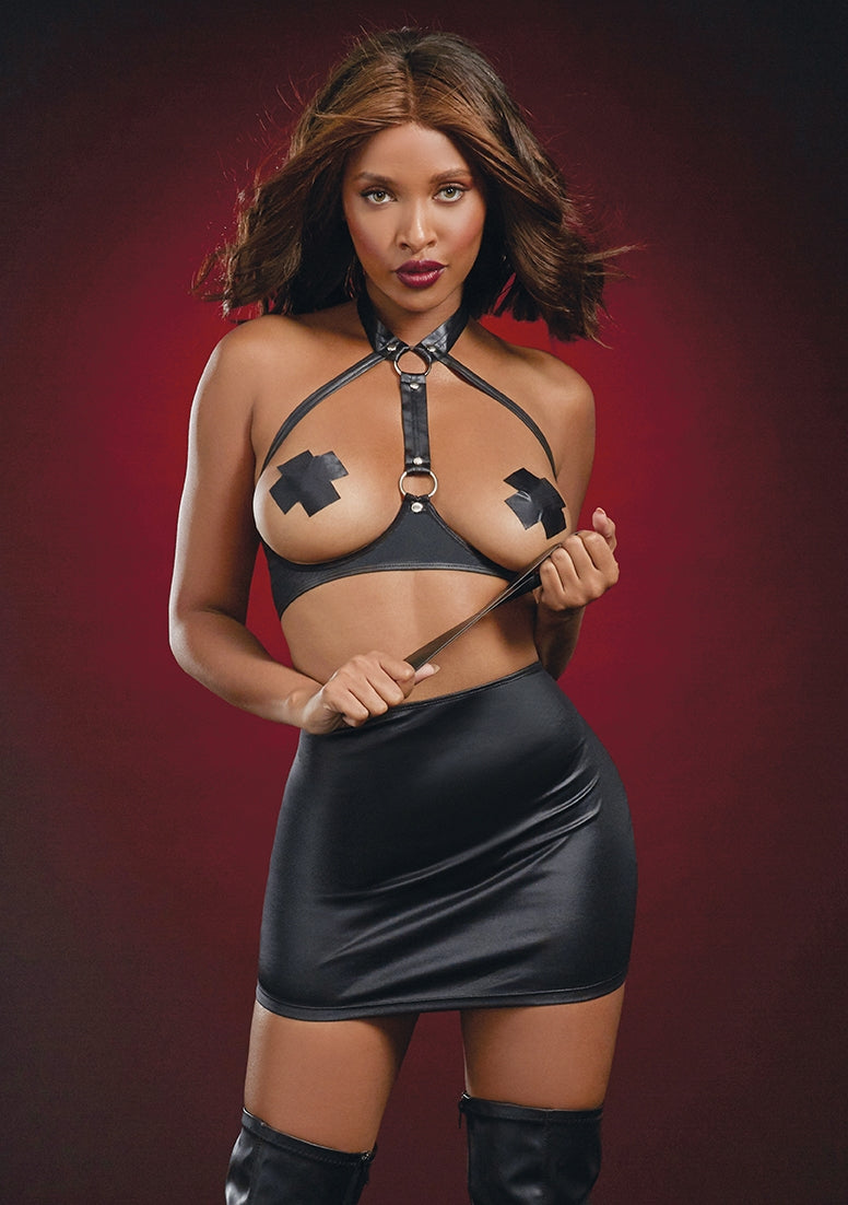 Leather-Look Open Cup Bra Set - Black