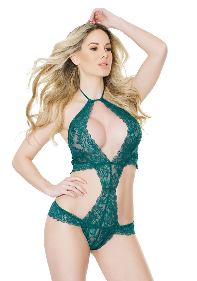 Halter Teddy with Back Lace Up Detail - Teal