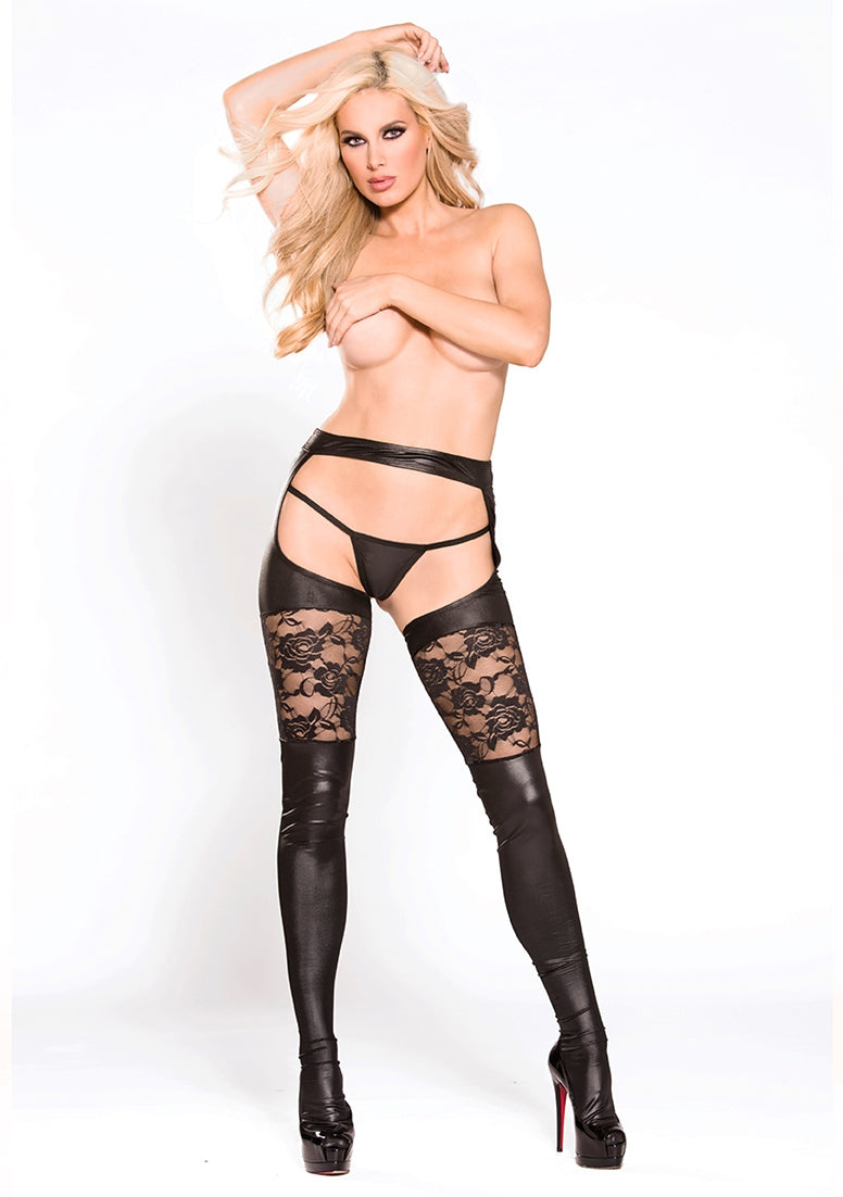 Lace & Wetlook Garter Tights - Black