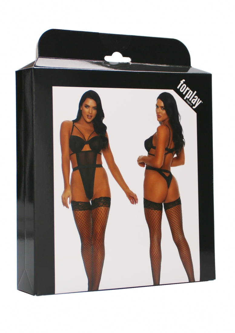 Caught You Looking Chemise Set- Black