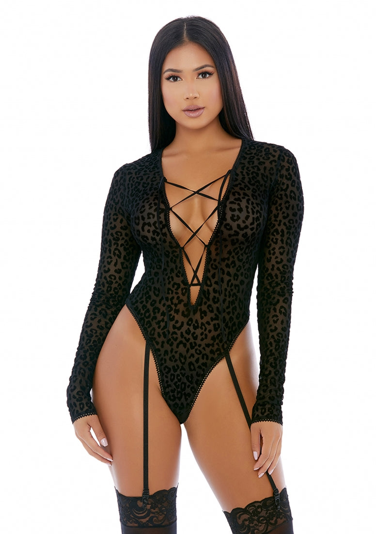 Feline Lustful Long Sleeve Teddy - Black