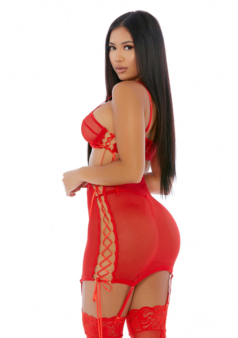 Put O-ring On It Lingerie Skirt Set - Red