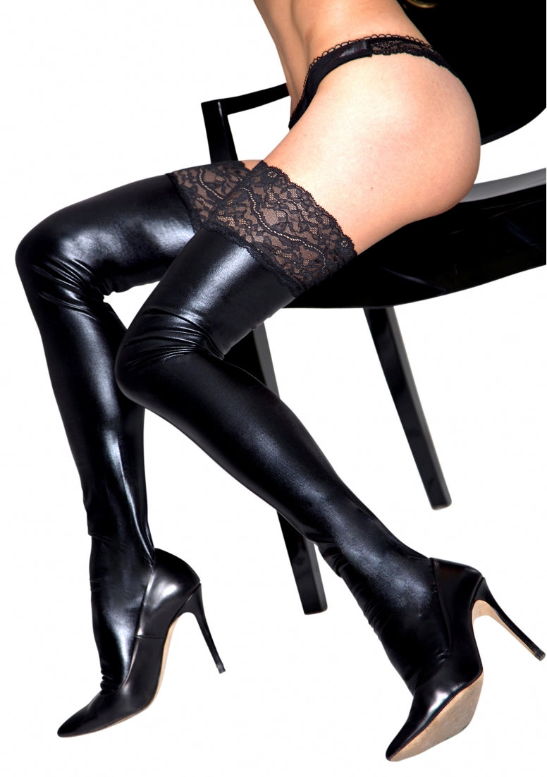 Wetlook and Lace Stockings - Black