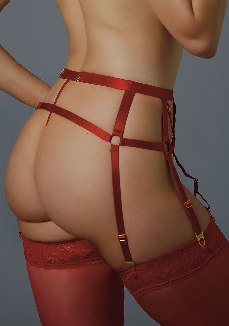 Adore Please Me Garter with G-string - Red
