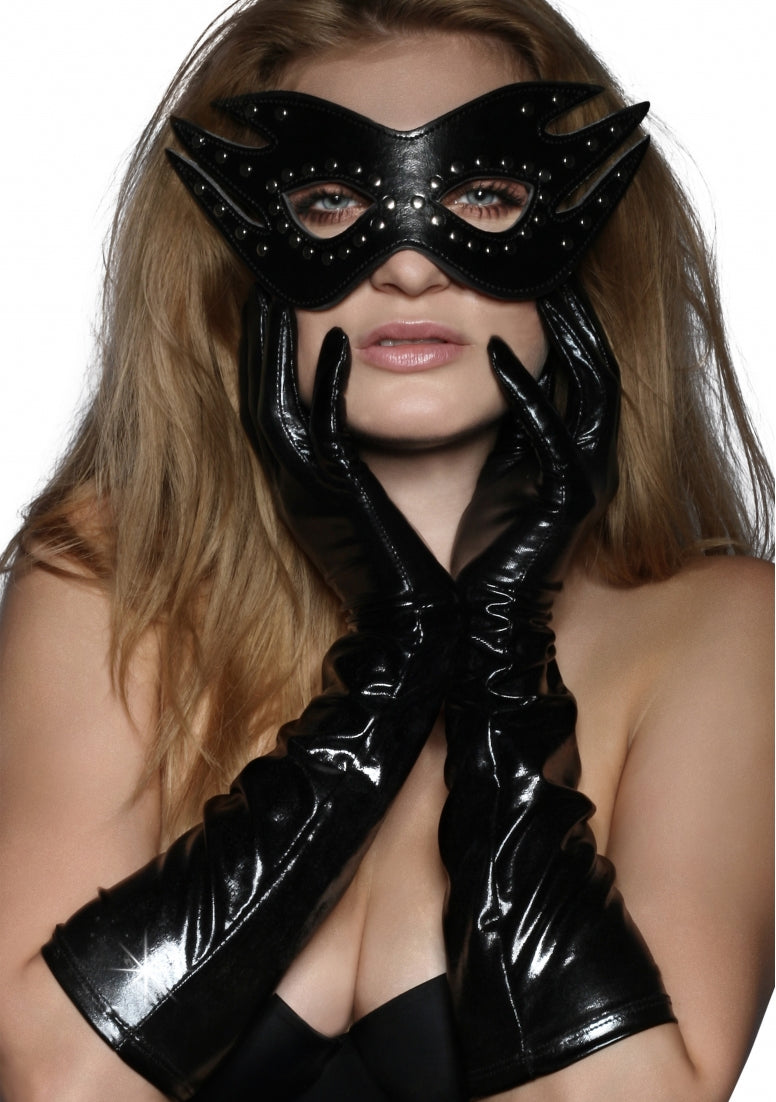 Long Wetlook Gloves - Black
