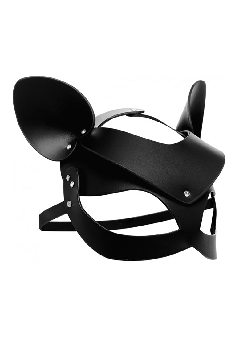 Bad Kitten Leather Cat Mask - Black