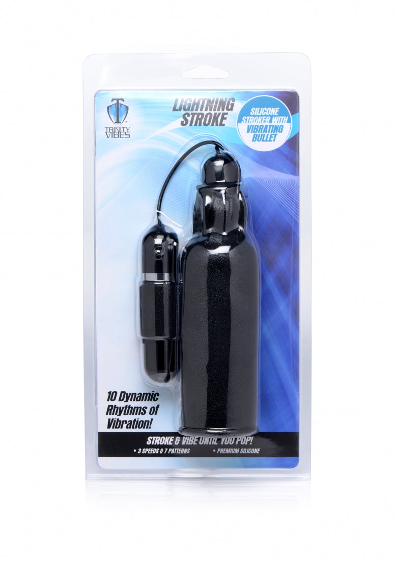 Lightning Stroke Silicone Stroker with Vibrating Bullet - Black