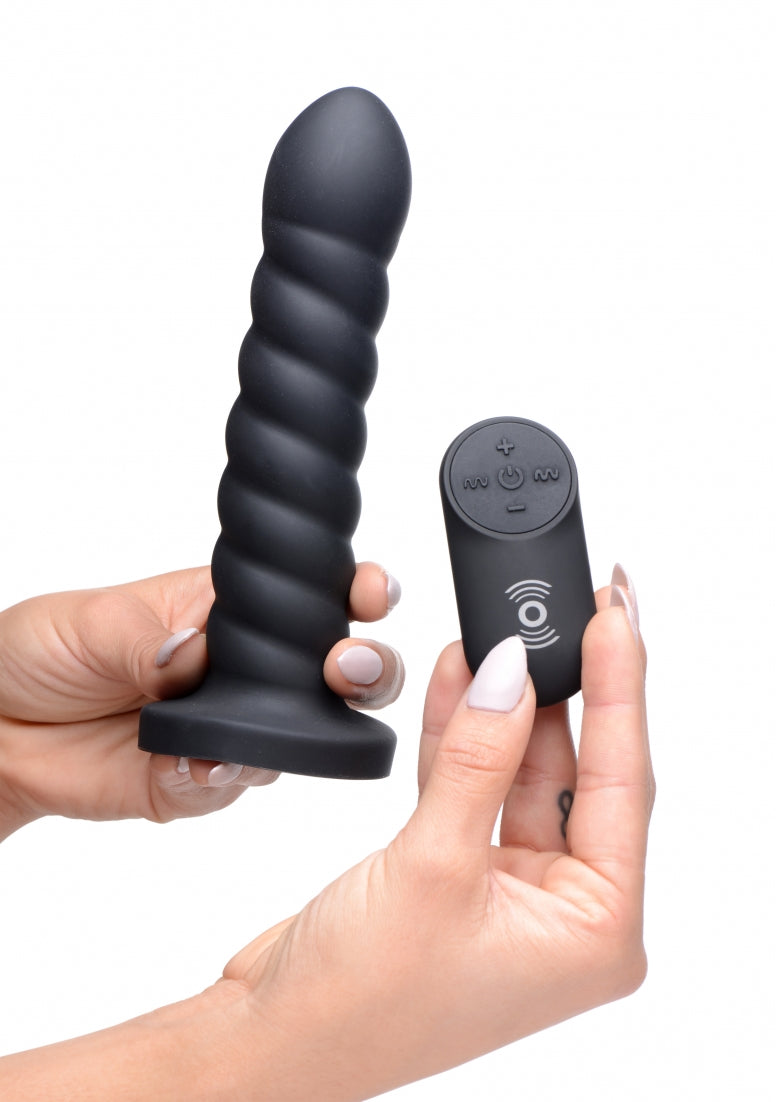SU Supple Swirl 21x Remote Control Silicone Dildo - Black