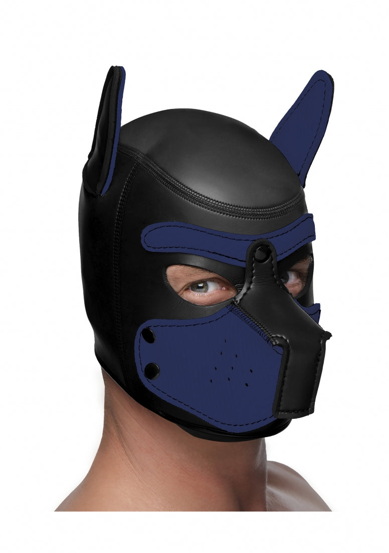 Neoprene Puppy Hood - Black and Blue