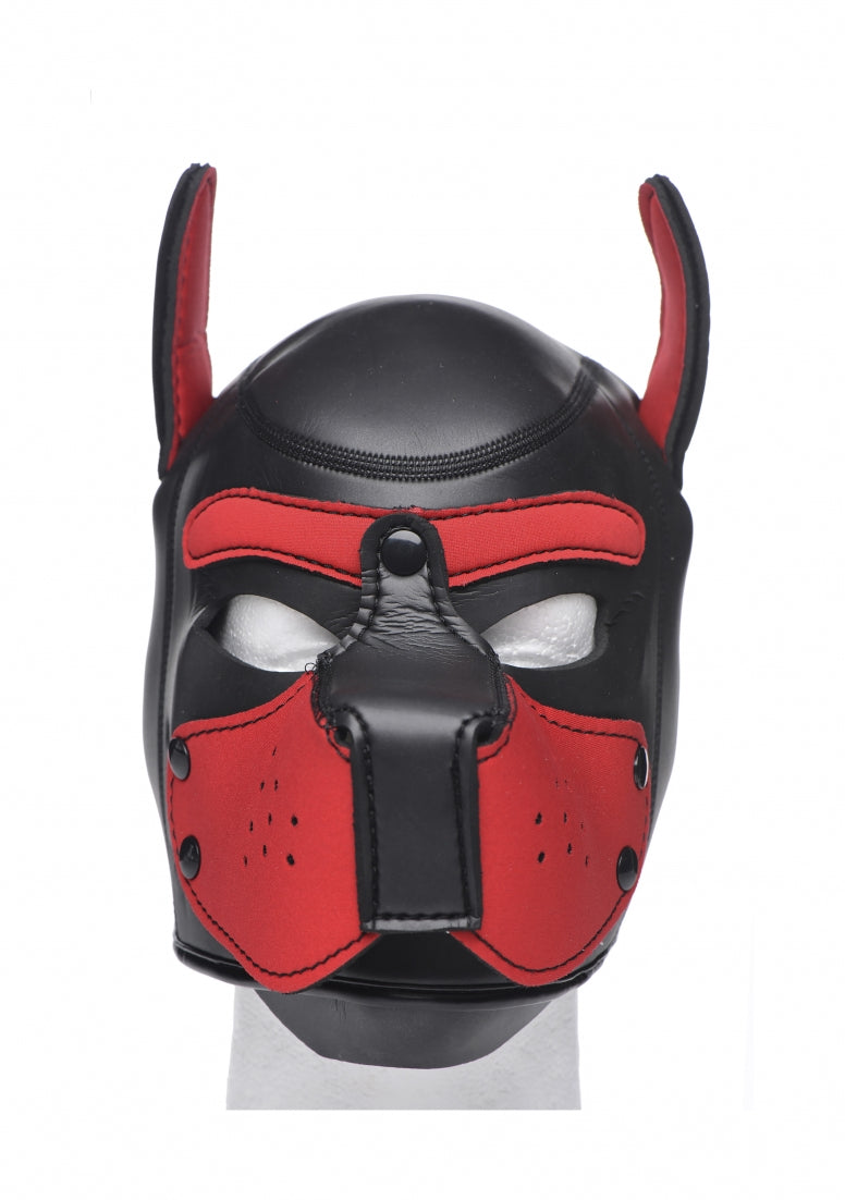 Neoprene Puppy Hood - Black and Red