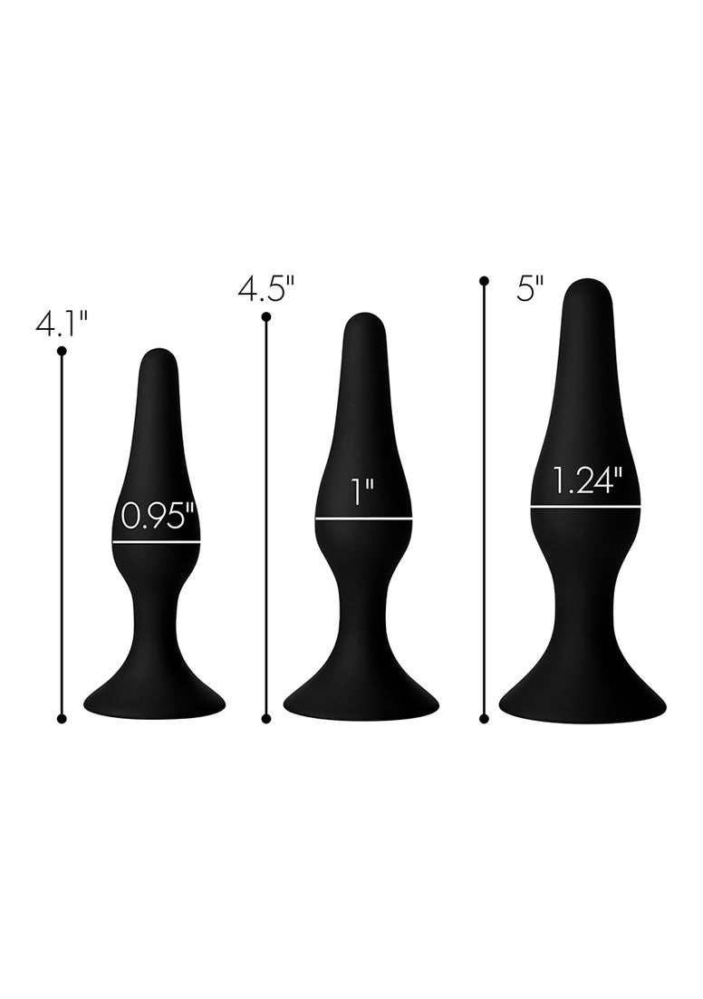 Triple Spire Tapered Silicone Anal Trainer Set of 3 - Black