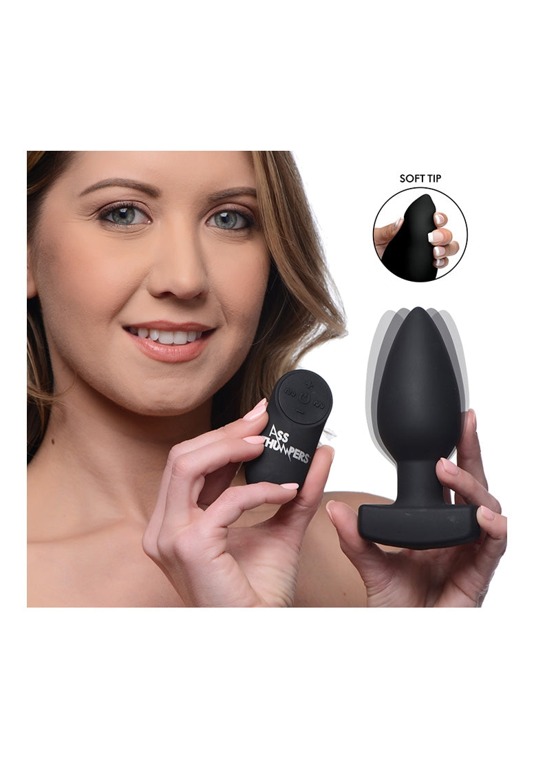 Smooth Vibrating Anal Plug with Remote Control - Black