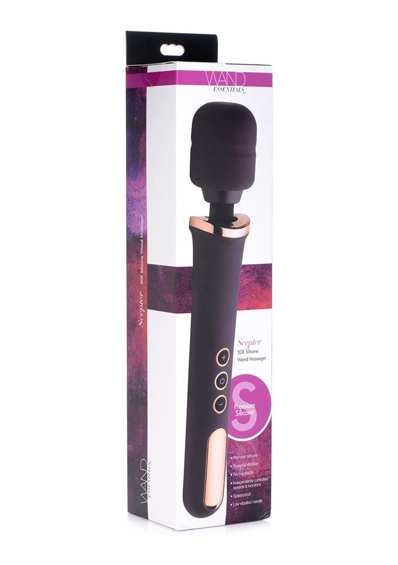 Scepter 50X Silicone Wand Massager - Black/Gold