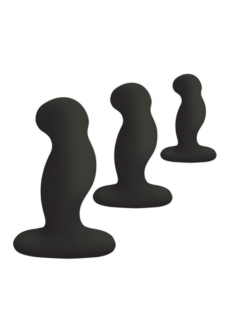 ANAL STARTER KIT 3 Solid Sillicone Anal Plugs - Black