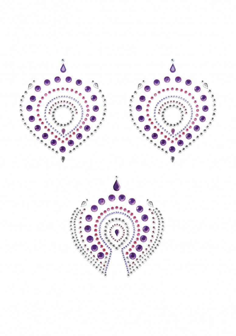 Flamboyant - Rhinestone Body Decoration - Violet and pink
