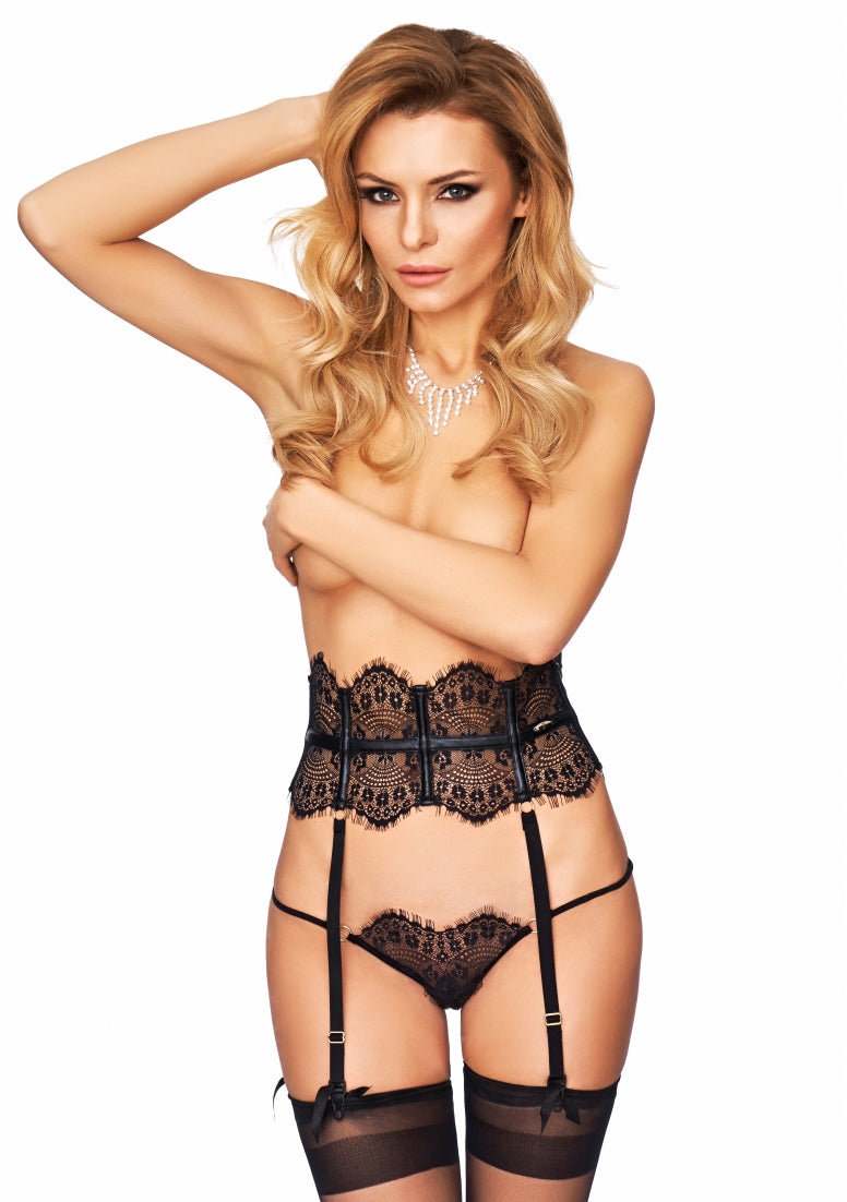 CAMPANA Elegant Lace Garterbelt with Stockings  - Black
