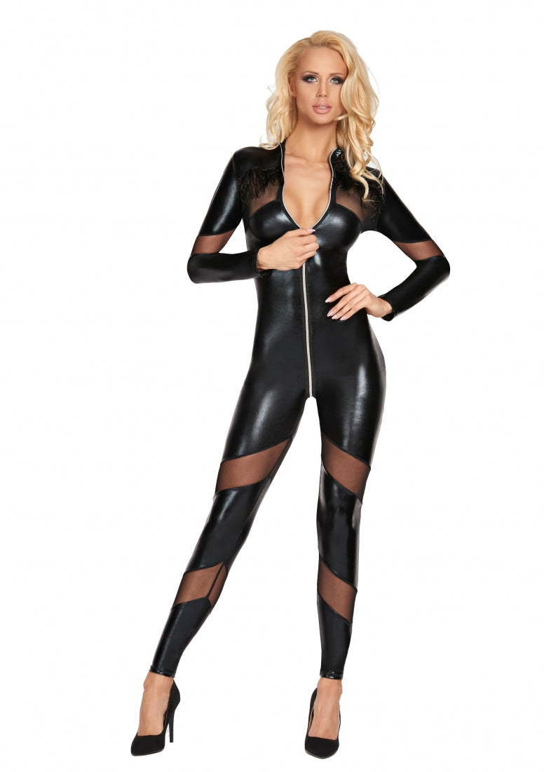CHANCAY Mesh and Wetlook Catsuit - Black