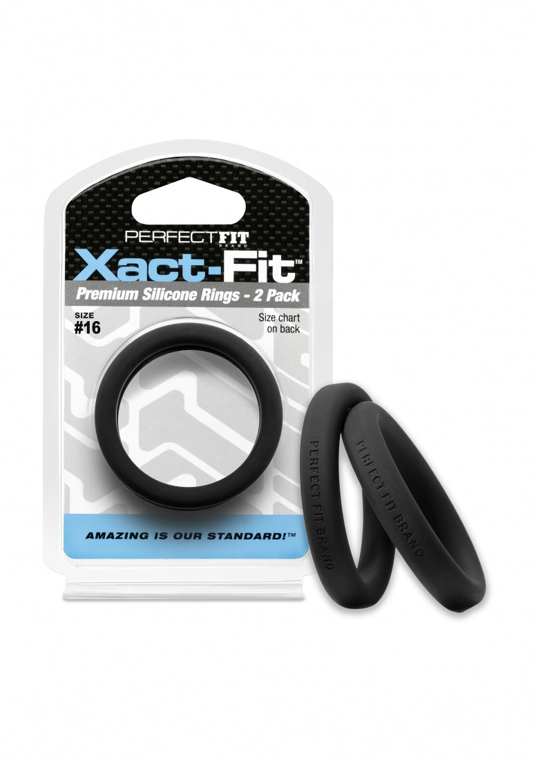 #16 Xact-Fit Cockring 2-Pack - Black