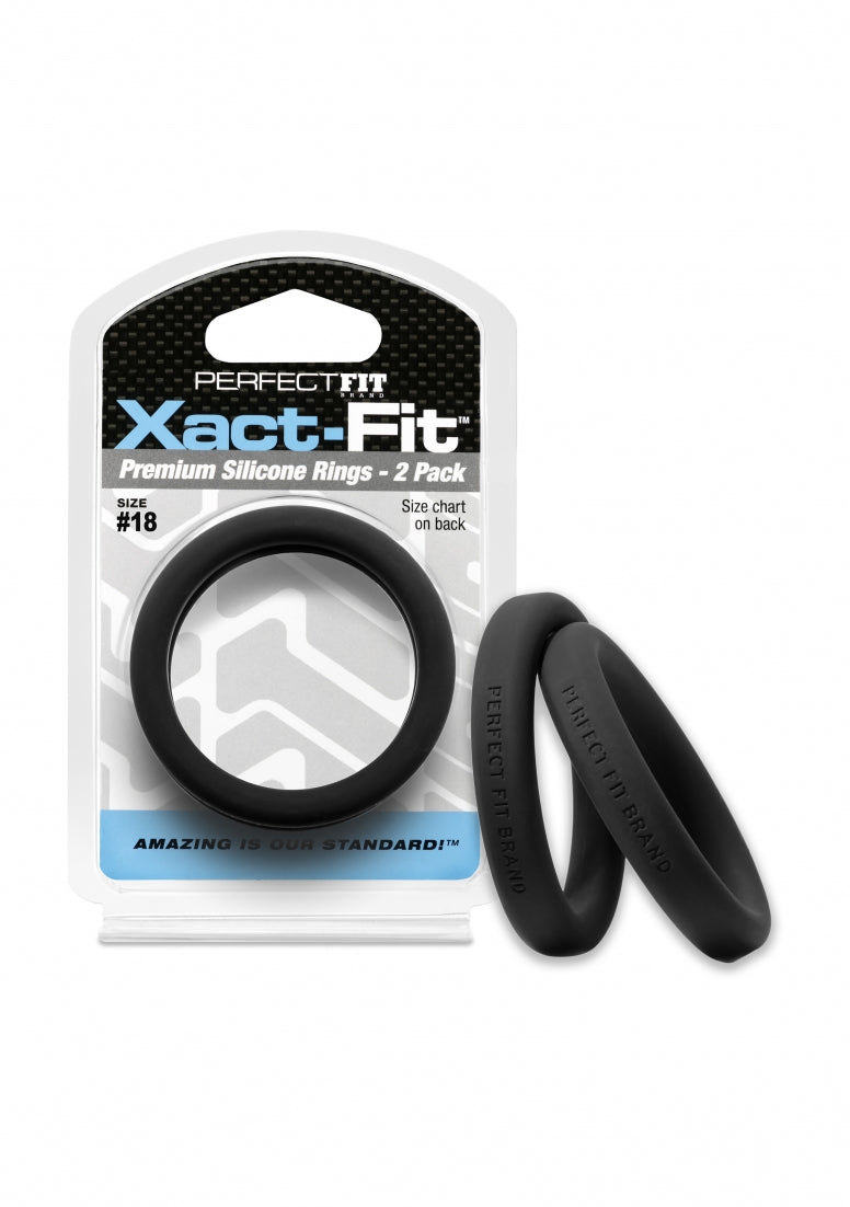 #18 Xact-Fit Cockring 2-Pack - Black