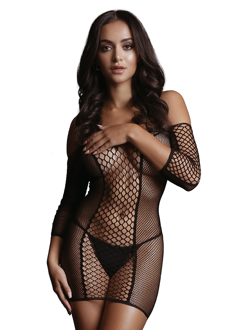 Duo Net Sleeved Mini Dress - Black - O/S