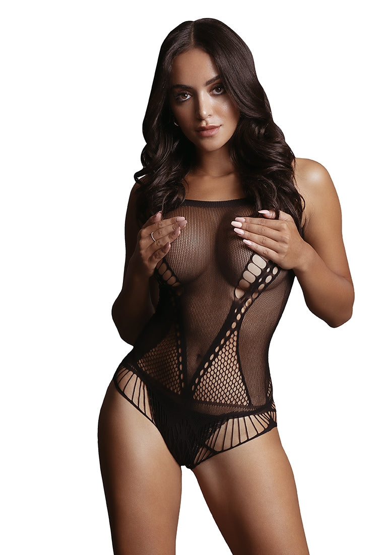 Contrast Net Teddy - Black - O/S