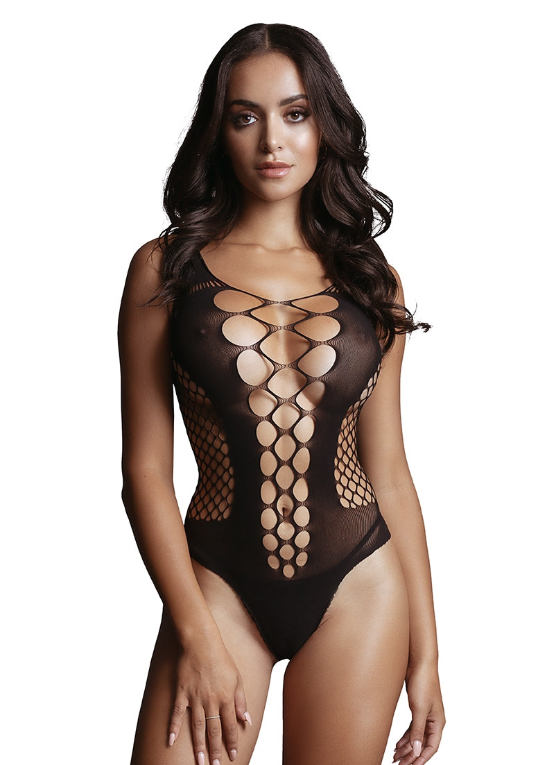 Contrast Fence Net Teddy - Black - O/S