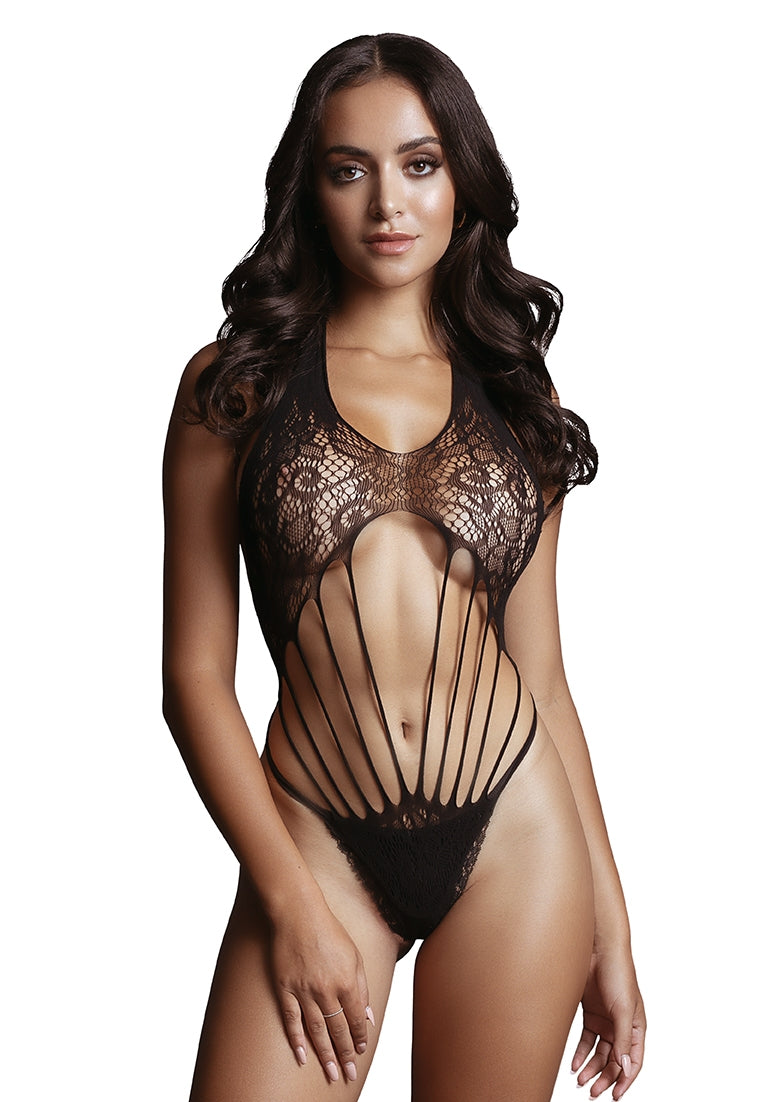 Strappy Lace Teddy - Black - O/S