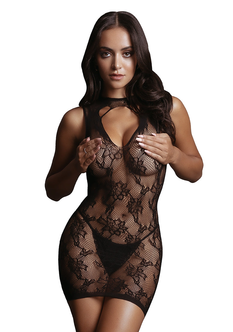 High Neck Lace Mini Dress - Black - O/S