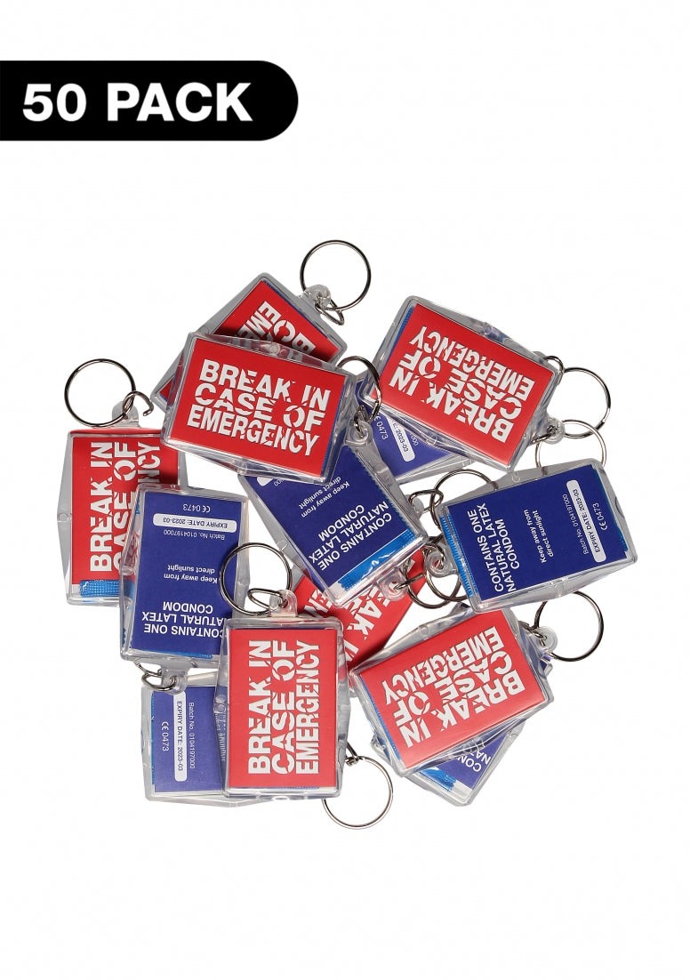 Key Rings- Break In Case Of Emergency - 50 pack