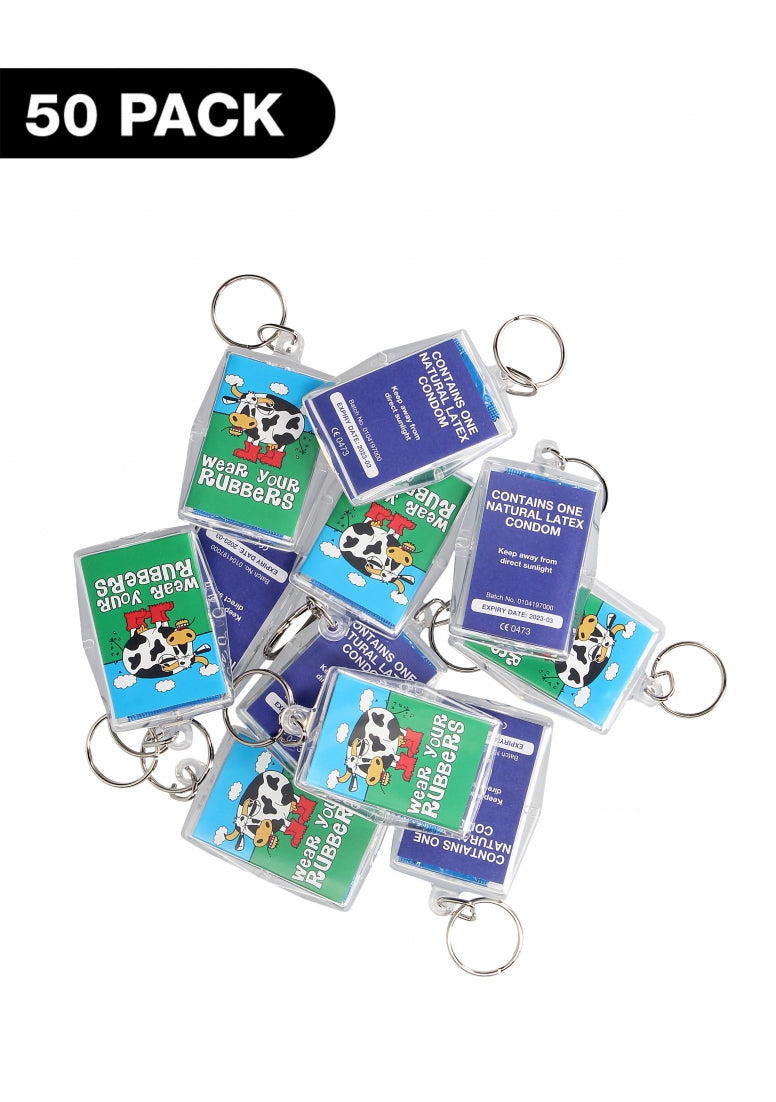 Key Rings- Wear Your Rubbers - 50 pack