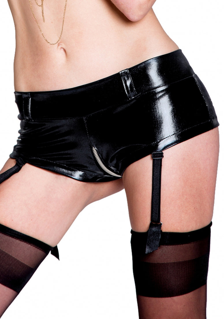 FANNY Wetlook Garter Shorts - Black
