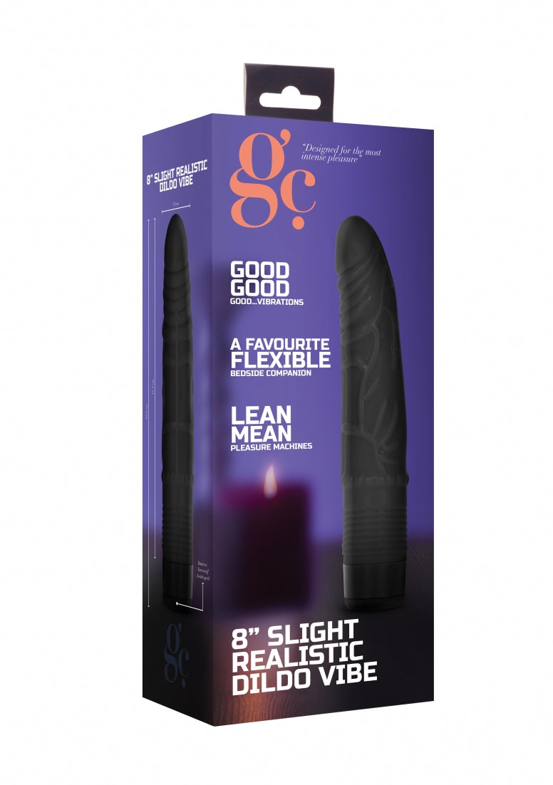 8 Inch Slight Realistic Dildo Vibe - Black