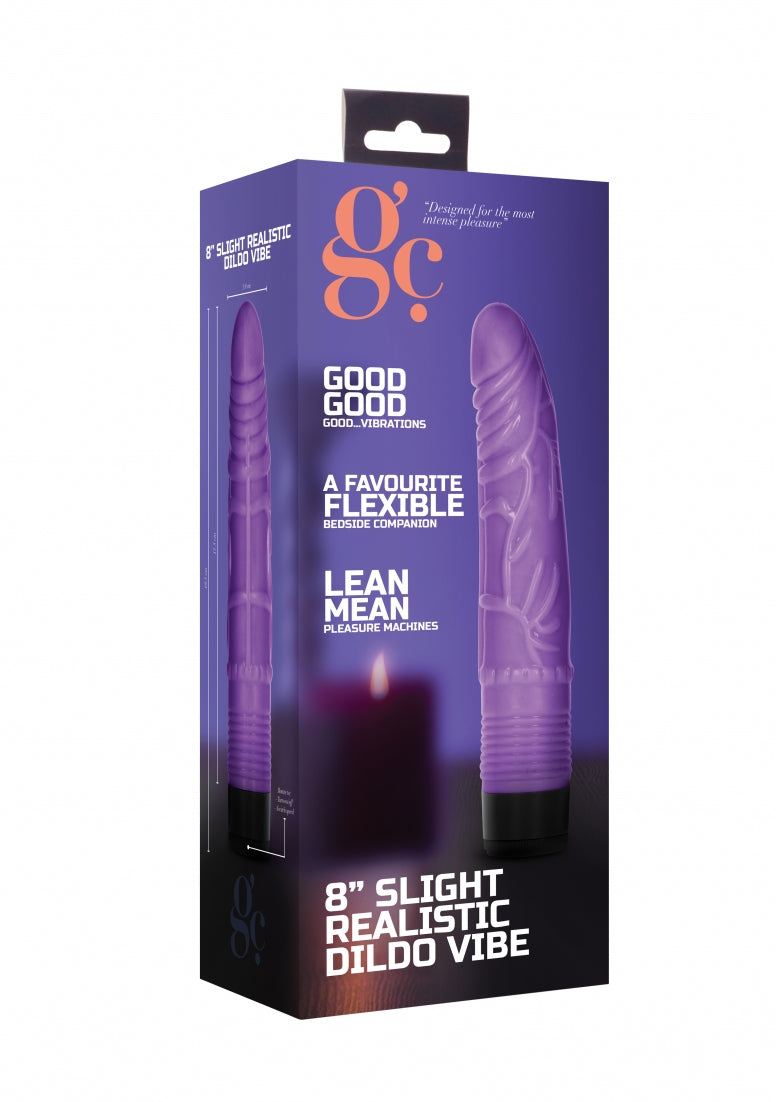 8 Inch Slight Realistic Dildo Vibe - Purple