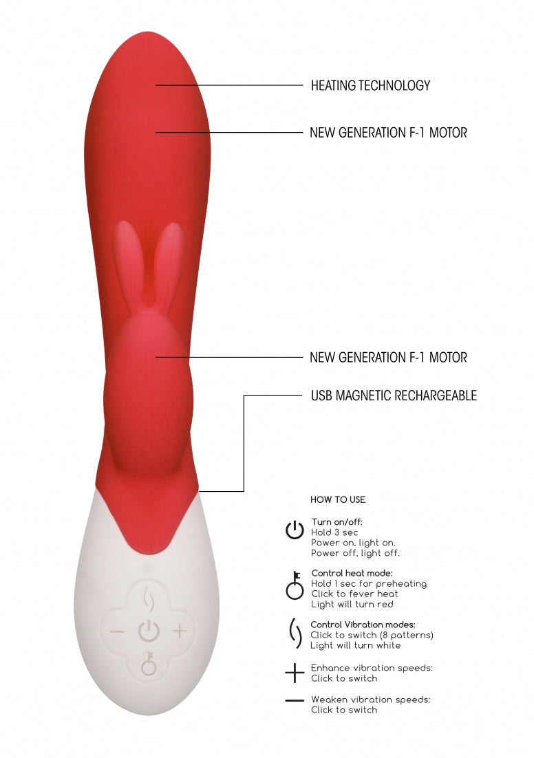 Flame - Rechargeable Heating G-Spot Rabbit Vibrator  - Red