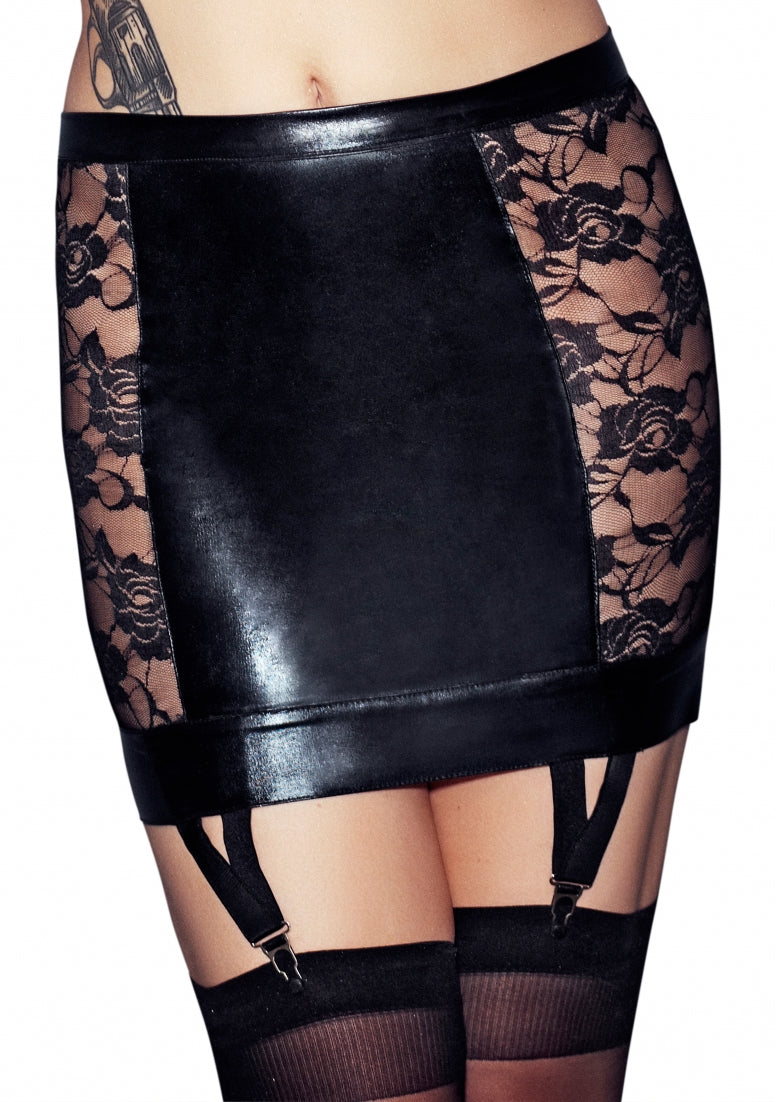 LORENA Wetlook and Lace Garter Skirt - Black