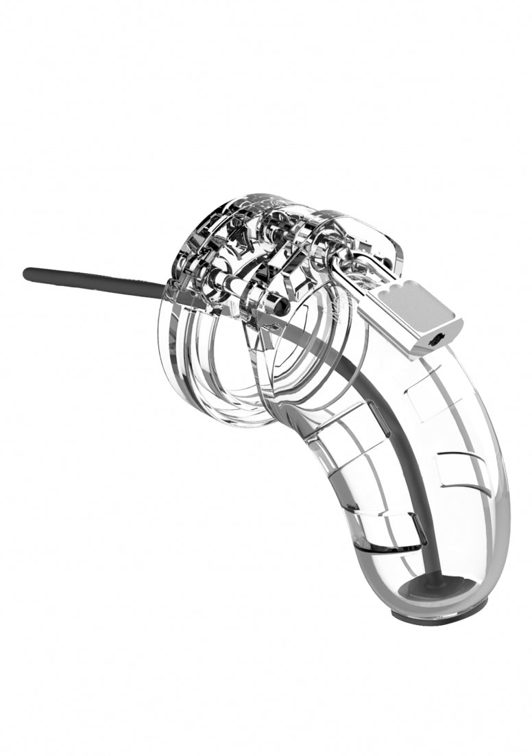 "Model 15 - Chastity - 3.5"" - Cage with Silicone Urethal Sounding"