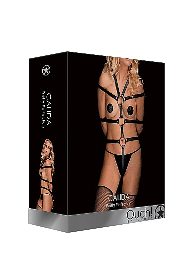 Bondage Toys - Ouch! Calida - Pretty Perfection Lederen Harnas - Zwart - Ouch!