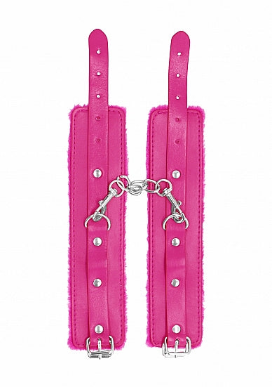 Cuffs,Bondage Toys - Ouch! Plush Leather Hand Cuffs - Pink - Ouch!