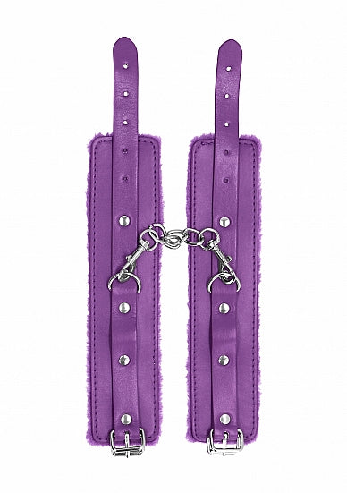 Cuffs,Bondage Toys - Ouch! Plush Leather Hand Cuffs - Purple - Ouch!
