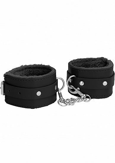 Cuffs,Bondage Toys - Ouch! Plush Leather Ankle Cuffs - Black - Ouch!