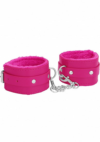Cuffs,Bondage Toys - Ouch! Plush Leather Ankle Cuffs - Roze - Ouch!