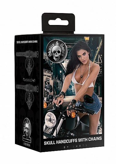 Accessories,Bondage Toys,Cuffs - Ouch! Skulls and Bones - Handcuffs with Skulls and Chains - Blac - Ouch! Skulls and Bones