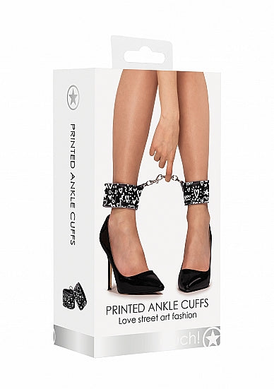 Printed Ankle Cuffs - Love Street Art Fasion - Black