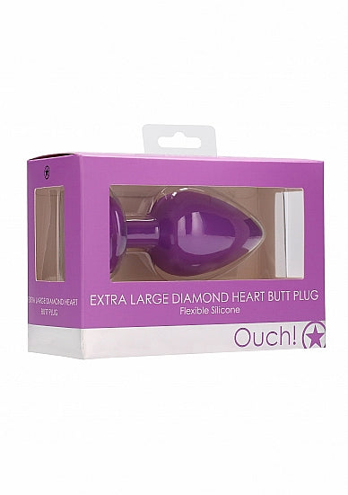 Diamond Heart Butt Plug - Extra Large - Purple