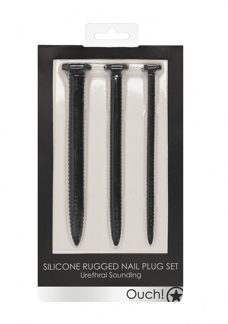 Silicone Rugged Nail Plug Set - Urethral Sounding -  Black