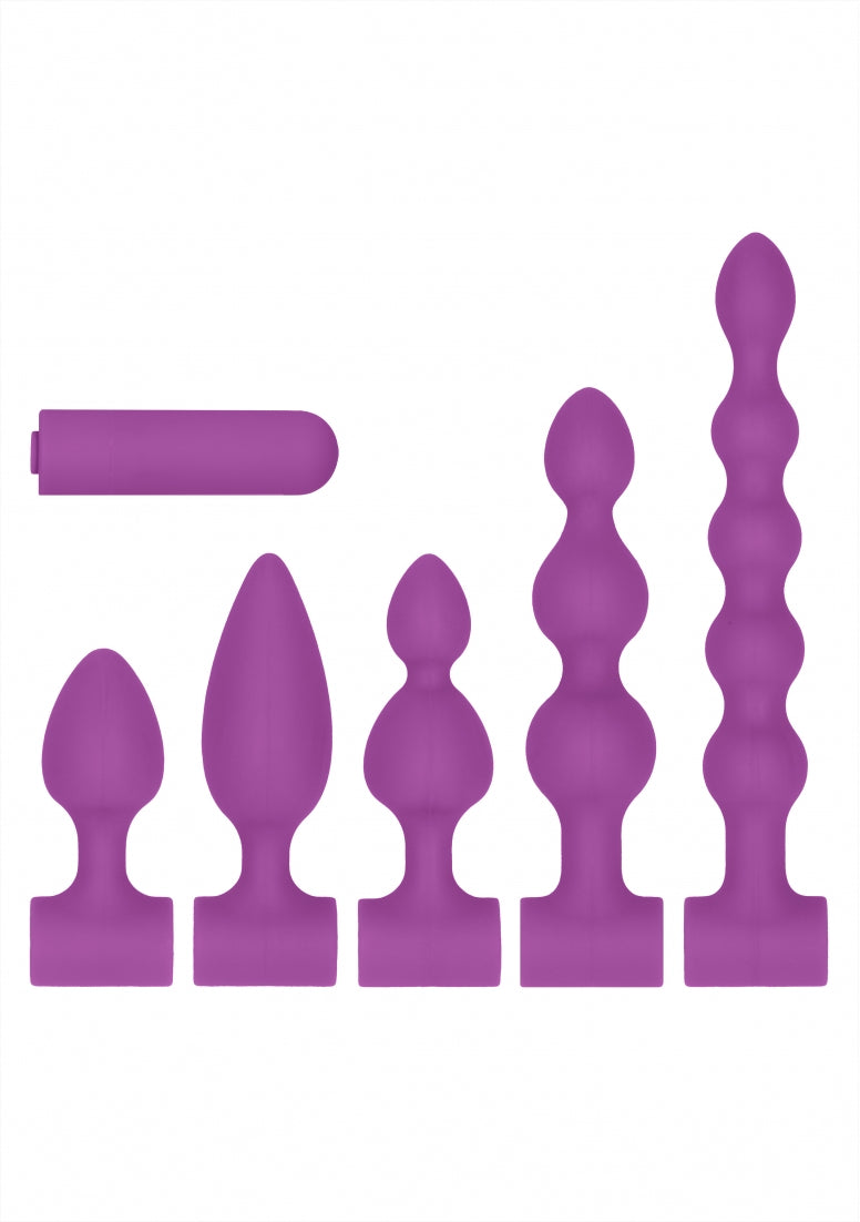 Silicone USB-Rechargeable Anal Set - Purple